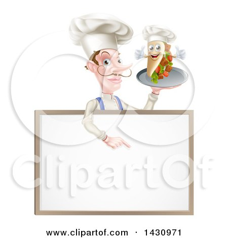 Clipart of a Cartoon Caucasian Male Chef with a Curling Mustache, Holding a Kebab Sandwich on a Tray, Pointing down over a Blank Menu Sign - Royalty Free Vector Illustration by AtStockIllustration