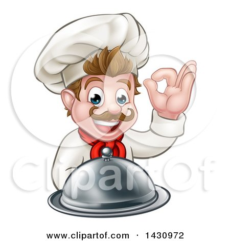 Clipart of a Cartoon Happy Young White Male Chef Holding a Cloche Platter and Gesturing Ok or Perfect - Royalty Free Vector Illustration by AtStockIllustration