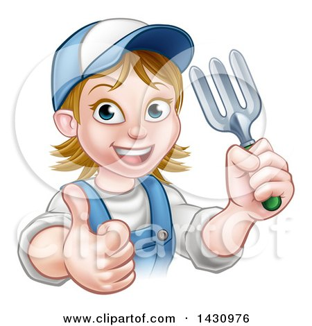 Clipart of a Cartoon Happy White Female Gardener in Blue, Holding a Garden Fork and Giving a Thumb up over a Sign - Royalty Free Vector Illustration by AtStockIllustration