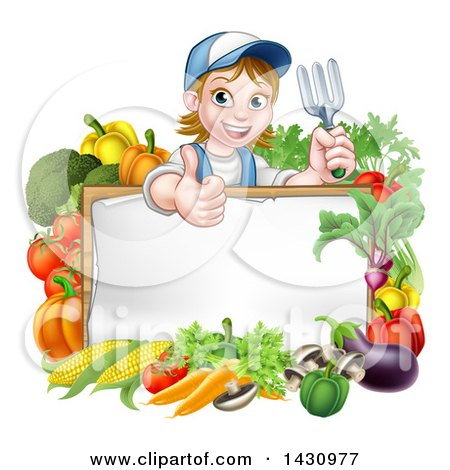 Clipart of a Cartoon Happy White Female Gardener in Blue, Holding a Garden Fork and Giving a Thumb up over a White Sign with Produce - Royalty Free Vector Illustration by AtStockIllustration