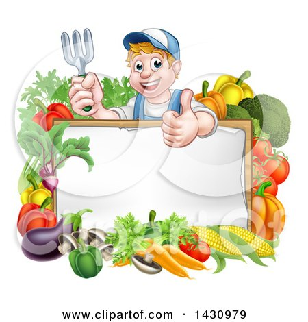 Clipart of a Young Caucasian Male Gardener in Blue, Holding up a Garden Fork and Giving a Thumb up over a Blank White Sign with Produce - Royalty Free Vector Illustration by AtStockIllustration