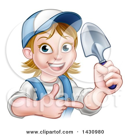 Clipart of a Cartoon Happy White Female Gardener in Blue, Holding a Garden Trowel and Pointing - Royalty Free Vector Illustration by AtStockIllustration