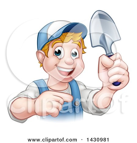 Clipart of a Cartoon Happy White Male Gardener in Blue, Holding a Garden Trowel and Pointing - Royalty Free Vector Illustration by AtStockIllustration