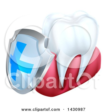 Clipart of a 3d White Tooth and Gums with a Blue and Silver Protective Dental Shield - Royalty Free Vector Illustration by AtStockIllustration