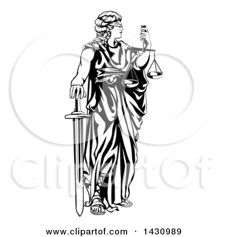 Clipart of a Black and White Blindfolded Lady Justice Holding Scales and a Sword - Royalty Free Vector Illustration by AtStockIllustration