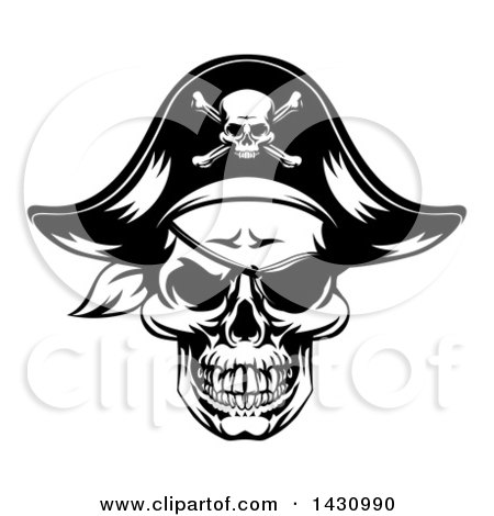 Clipart of a Black and White Skull Wearing an Eye Patch and Pirate Hat - Royalty Free Vector Illustration by AtStockIllustration