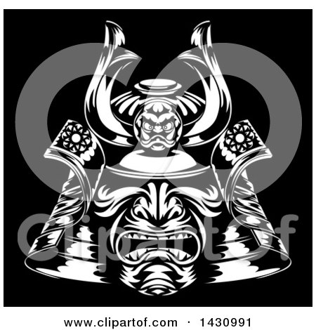 Clipart of a Black and White Samurai Mask on Black - Royalty Free Vector Illustration by AtStockIllustration