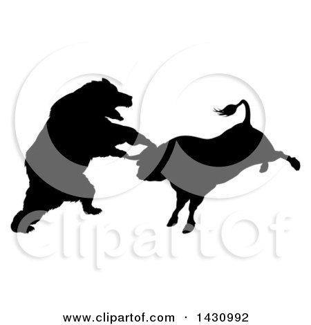 Clipart of a Black Silhouetted Stock Market Bull and Bear Fighting - Royalty Free Vector Illustration by AtStockIllustration