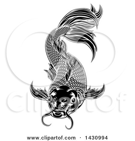 Clipart of a Black and White Woodcut Carp Koi Fish - Royalty Free Vector Illustration by AtStockIllustration