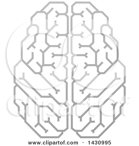 Clipart of a Grayscale Human Brain with Electrical Circuits - Royalty Free Vector Illustration by AtStockIllustration