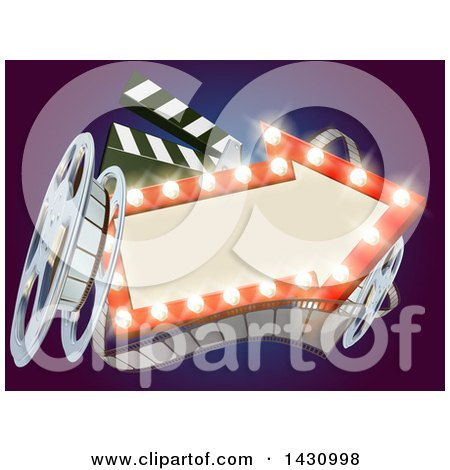 Clipart of a 3d Film Reel, Clapperboard and an Illuminated Arrow Sign over Blue - Royalty Free Vector Illustration by AtStockIllustration