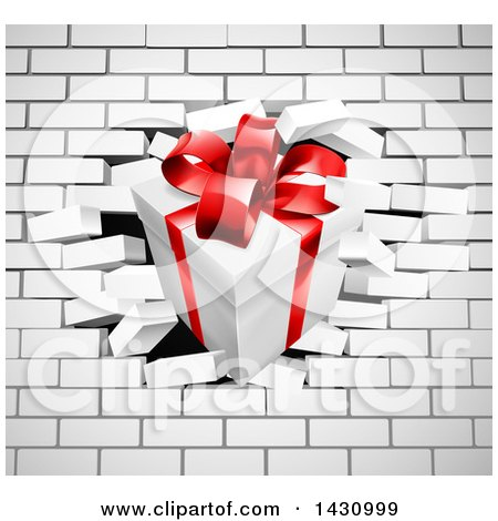 Clipart of a 3d Gift Box Breaking Through a White Brick Wall - Royalty Free Vector Illustration by AtStockIllustration