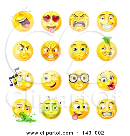 Clipart of Cartoon Yellow Emoji Smiley Face Emoticons - Royalty Free Vector Illustration by AtStockIllustration
