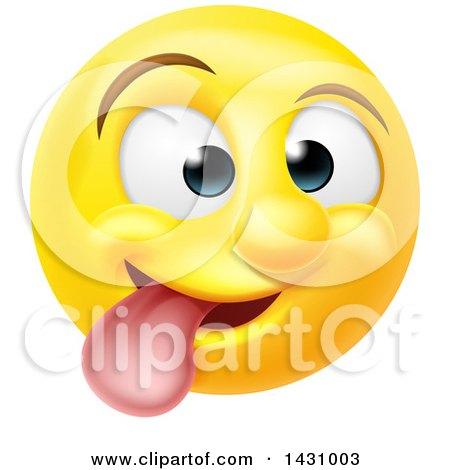 Clipart of a Cartoon Goofy Yellow Smiley Face Emoji Emoticon - Royalty Free Vector Illustration by AtStockIllustration