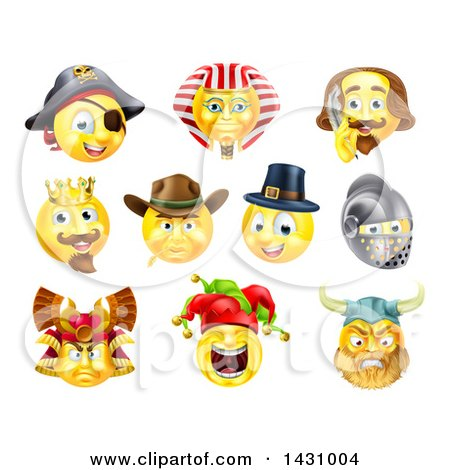 Clipart of Historical Themed Emoji Yellow Smiley Face Emoticons - Royalty Free Vector Illustration by AtStockIllustration
