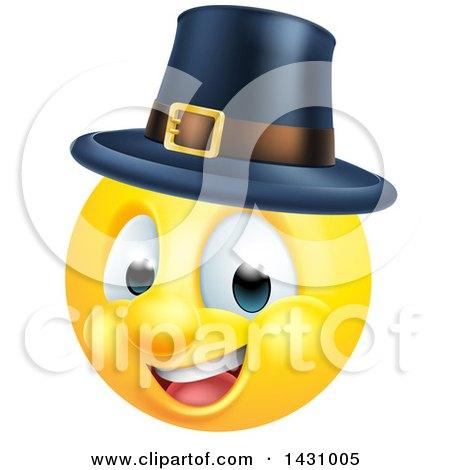 Clipart of a Cartoon Yellow Pilgrim Smiley Face Emoji Emoticon - Royalty Free Vector Illustration by AtStockIllustration