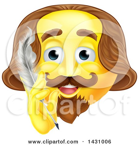 Clipart of a Yellow Shakespeare Smiley Emoji Emoticon Holding a Feather Quill Pen - Royalty Free Vector Illustration by AtStockIllustration