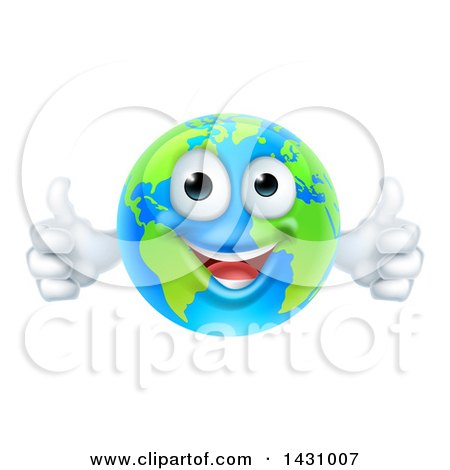 Clipart of a Happy Blue and Green Earth Mascot Giving Two Thumbs up - Royalty Free Vector Illustration by AtStockIllustration