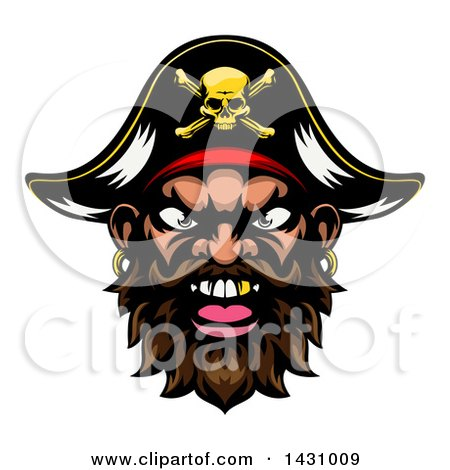 Clipart of a Pirate Mascot Face with a Gold Tooth and Captain Hat - Royalty Free Vector Illustration by AtStockIllustration