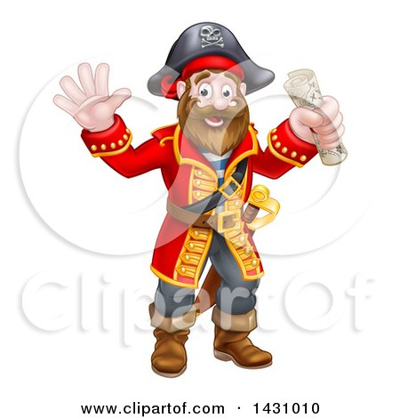 Clipart of a Happy Male Pirate Captain Holding a Treasure Map and Waving - Royalty Free Vector Illustration by AtStockIllustration