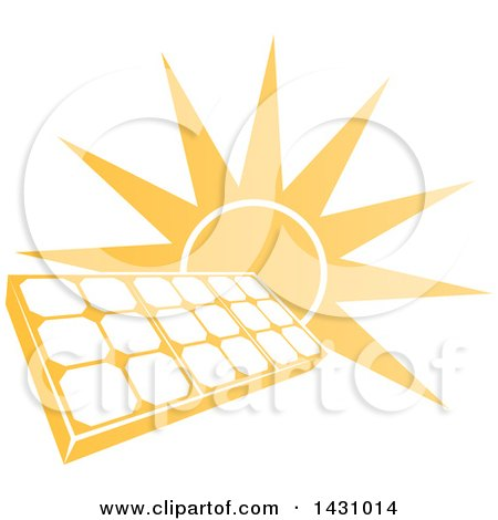 Clipart of a Bright Orange Sun Behind a Solar Panel Photovoltaics Cell - Royalty Free Vector Illustration by AtStockIllustration