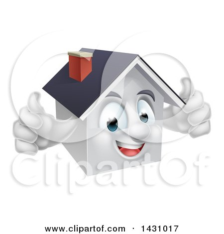 Clipart of a Cartoon Happy White Home Character Giving Two Thumbs up - Royalty Free Vector Illustration by AtStockIllustration