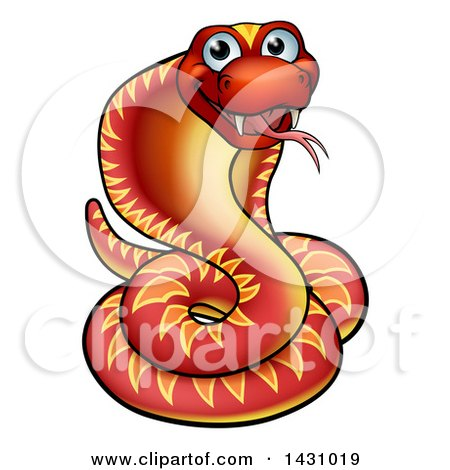 Clipart of a Cartoon Happy Red Cobra Snake - Royalty Free Vector Illustration by AtStockIllustration
