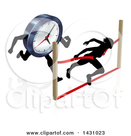 Clipart of a Silhouetted Woman Racing Against the Clock, Sprinting Through a Finish Line - Royalty Free Vector Illustration by AtStockIllustration