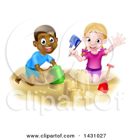 Clipart of a Happy White Girl and Black Boy Playing and Making a Sand Castle - Royalty Free Vector Illustration by AtStockIllustration