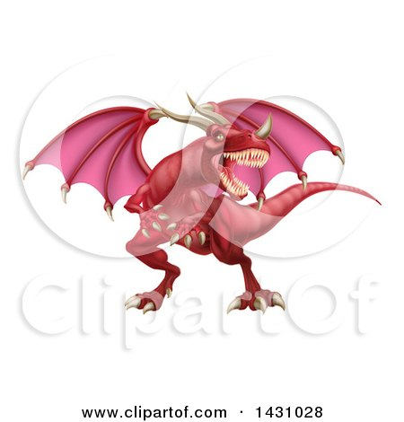 Clipart of a Mad Red Dragon with a Horned Nose - Royalty Free Vector Illustration by AtStockIllustration