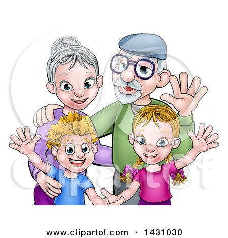 Clipart of Cartoon Happy Caucasian Grandparents and Grand Children Waving - Royalty Free Vector Illustration by AtStockIllustration