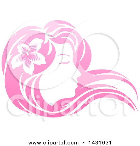 Clipart of a Gradient Pink Beatiful Woman's Face in Profile, with Long Hair and a Flower - Royalty Free Vector Illustration by AtStockIllustration