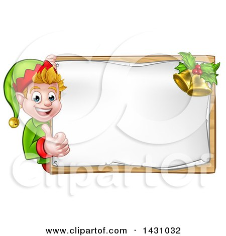 Clipart of a Happy Caucasian Male Christmas Elf Pointing Aorund a Blank Sign with Bells - Royalty Free Vector Illustration by AtStockIllustration