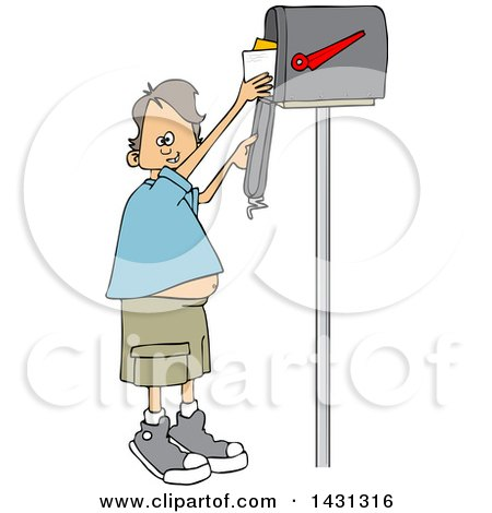 Clipart of a Cartoon Happy White Boy Getting Letters from a Mailbox - Royalty Free Vector Illustration by djart