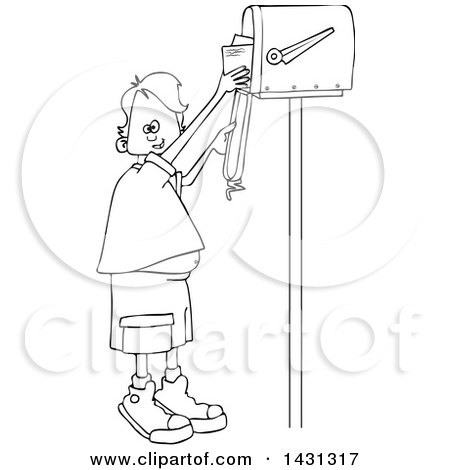 Clipart of a Cartoon Black and White Lineart Boy Getting Letters from a Mailbox - Royalty Free Vector Illustration by djart