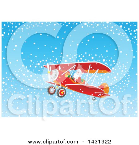 Clipart of a Scene of Santa Claus Flying a Biplane in the Snow - Royalty Free Vector Illustration by Alex Bannykh