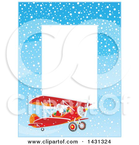 Clipart of a Vertical Border of of Santa Claus Flying a Biplane in the Snow - Royalty Free Vector Illustration by Alex Bannykh