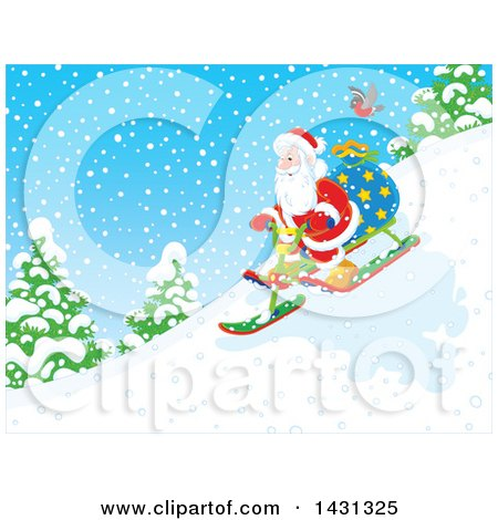 Clipart of a Scene of Santa Claus Sledding down a Hill in the Snow - Royalty Free Vector Illustration by Alex Bannykh