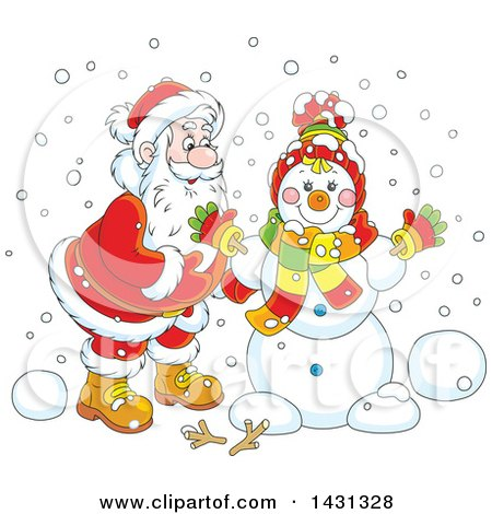 Clipart of a Cartoon Happy Santa Claus Putting Together a Winter Snowman - Royalty Free Vector Illustration by Alex Bannykh