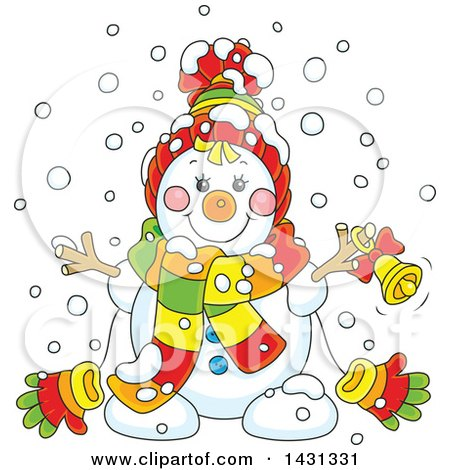 Clipart of a Cartoon Happy Winter Snowman with a Bell - Royalty Free Vector Illustration by Alex Bannykh