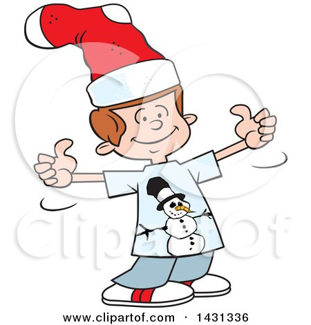 Clipart of a Cartoon Silly Caucasian Boy Giving Two Thumbs up and Wearing a Christmas Stocking on His Head - Royalty Free Vector Illustration by Johnny Sajem