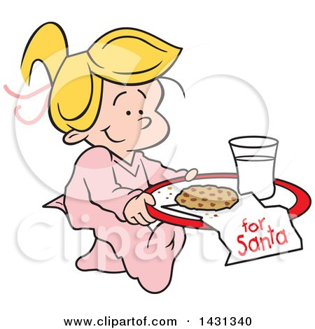 Clipart of a Cartoon Happy Blond Caucasian Girl Carrying a Cookie and Glass of Milk for Santa - Royalty Free Vector Illustration by Johnny Sajem