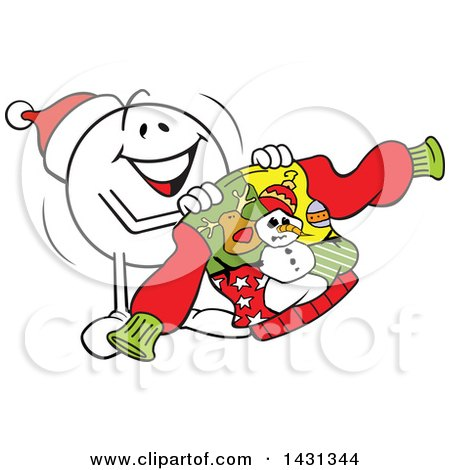 Clipart of a Cartoon Happy Festive Moodie Character Emoticon Holding an Ugly Christmas Sweater - Royalty Free Vector Illustration by Johnny Sajem