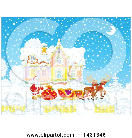 Clipart of a Scene of Reindeer Waiting As Santa Loads His Sleigh with Christmas Gifts in Front of His Home in the Snow - Royalty Free Vector Illustration by Alex Bannykh