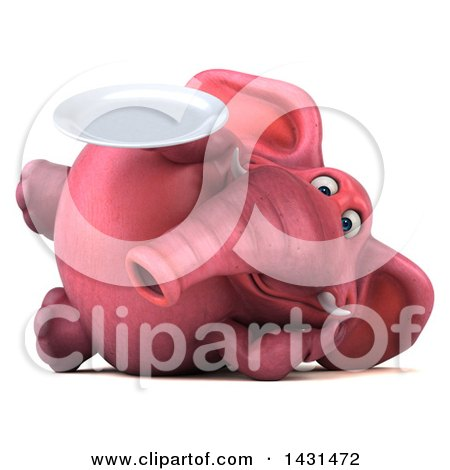 Clipart of a 3d Pink Elephant Holding a Plate, on a White Background - Royalty Free Illustration by Julos