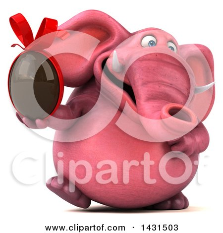 Clipart of a 3d Pink Elephant Holding a Chocolate Egg, on a White Background - Royalty Free Illustration by Julos