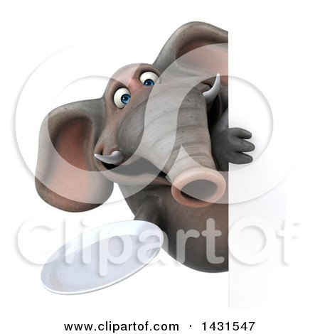 Clipart of a 3d Elephant Holding a Plate, on a White Background - Royalty Free Illustration by Julos