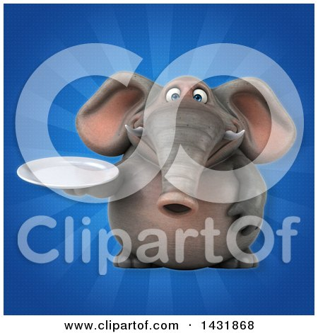 Clipart of a 3d Elephant Holding a Plate - Royalty Free Illustration by Julos