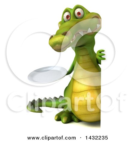 Clipart of a 3d Crocodile, on a White Background - Royalty Free Illustration by Julos