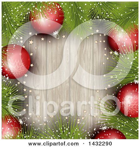 Clipart of a Border of 3d Red Snowflake Christmas Baubles and Pine Branches over Wood - Royalty Free Vector Illustration by KJ Pargeter